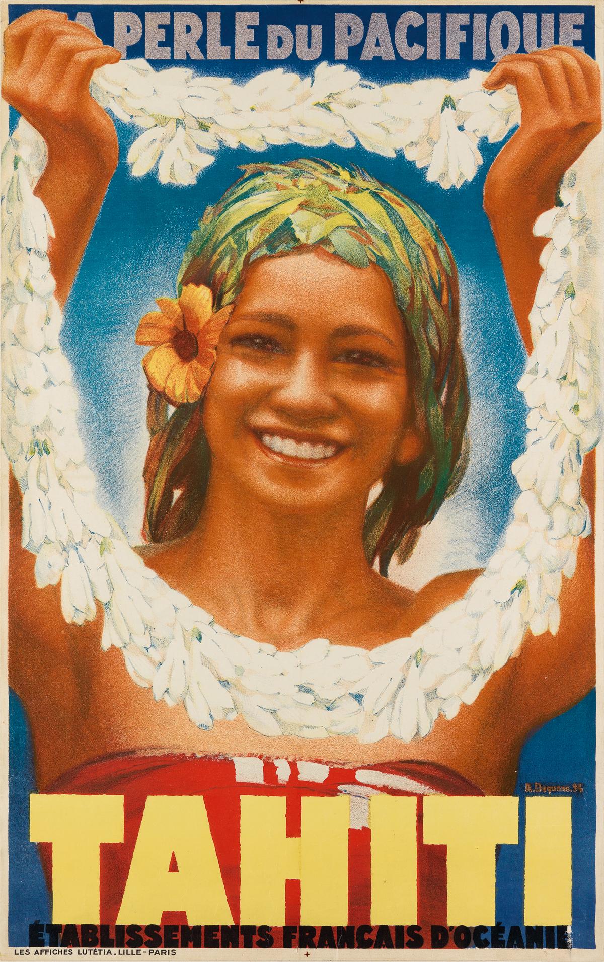 ALBERT-DEQUENE-(1897-1973)-TAHITI--LA-PERLE-DU-PACIFIQUE-1934-39x24-inches-99x63-cm-Les-Affiches-Lutétia-Paris