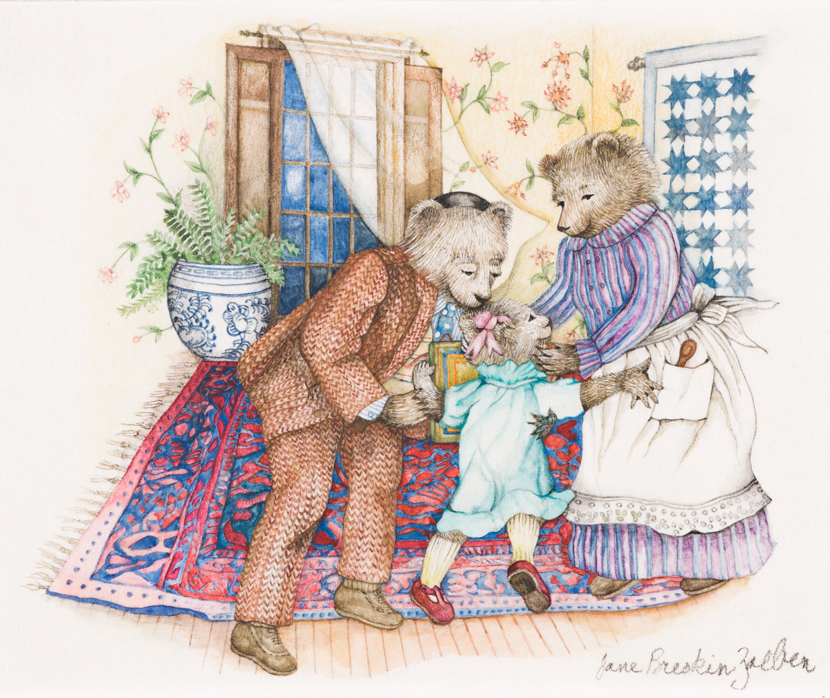 """JANE BRESKIN ZALBEN (1950- ) """"Rosie Hugging Grandparents."""" [CHILDRENS / JEWISH CULTURE / HOLIDAYS]"""