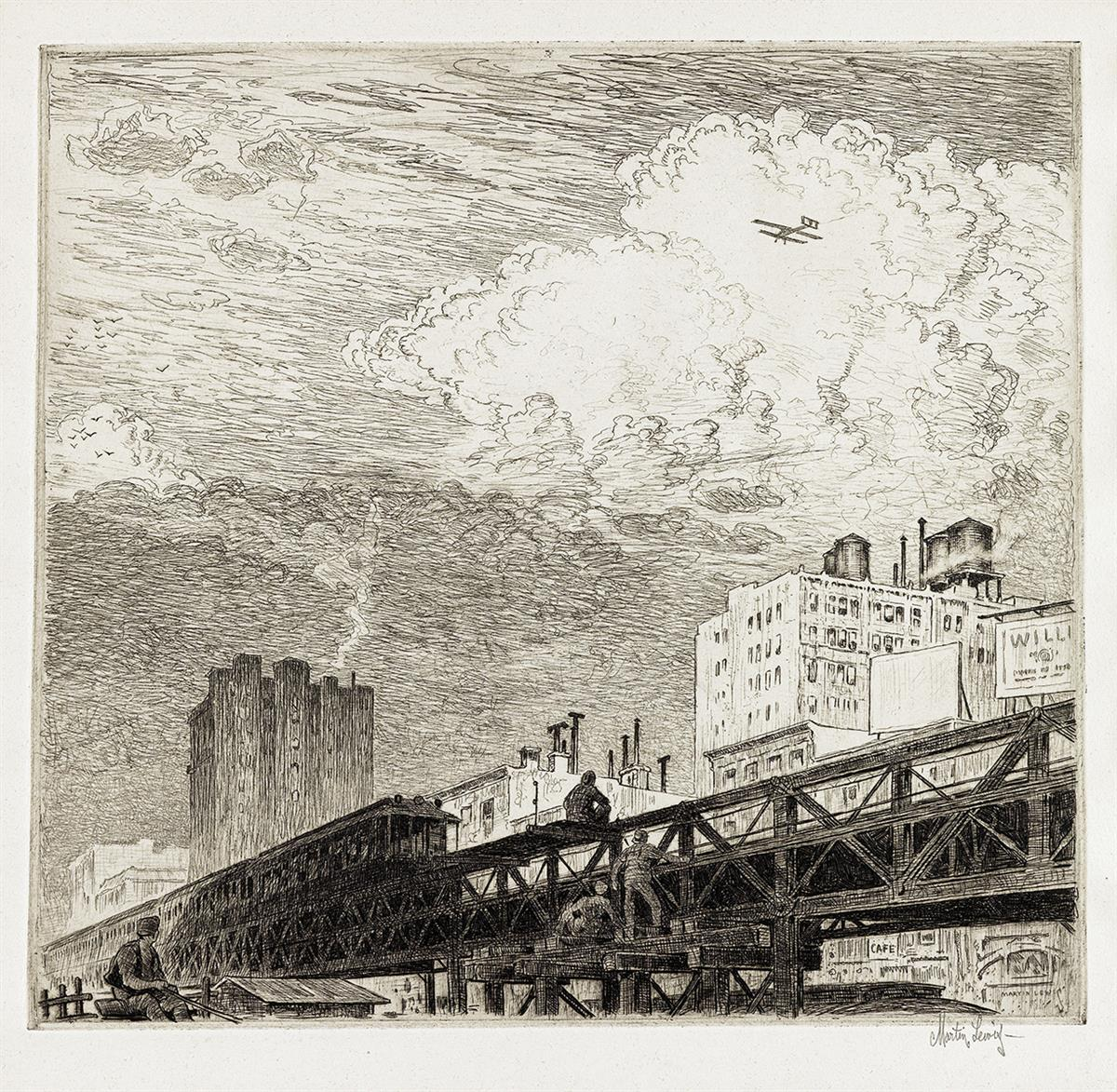 MARTIN LEWIS Men Working on Elevated Train Tracks, Looking at Airplane in Sky.