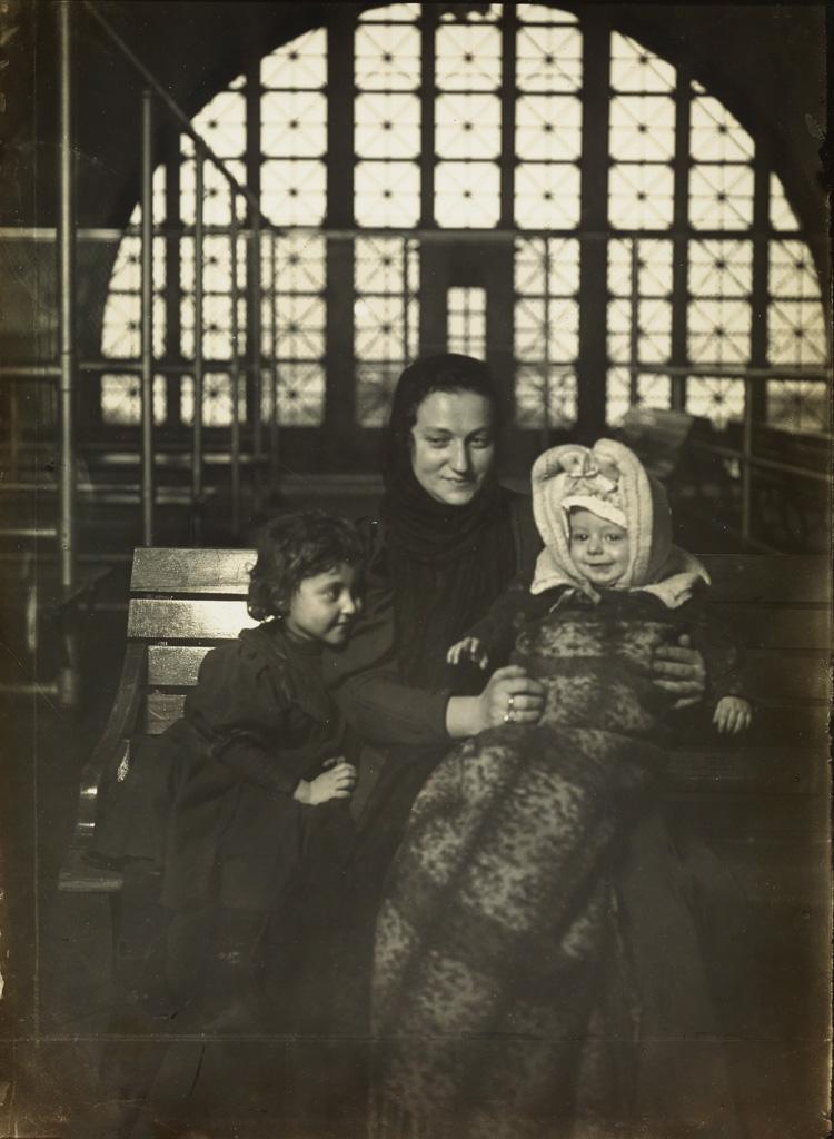 LEWIS W. HINE (1874-1940) Russian family at Ellis Island.