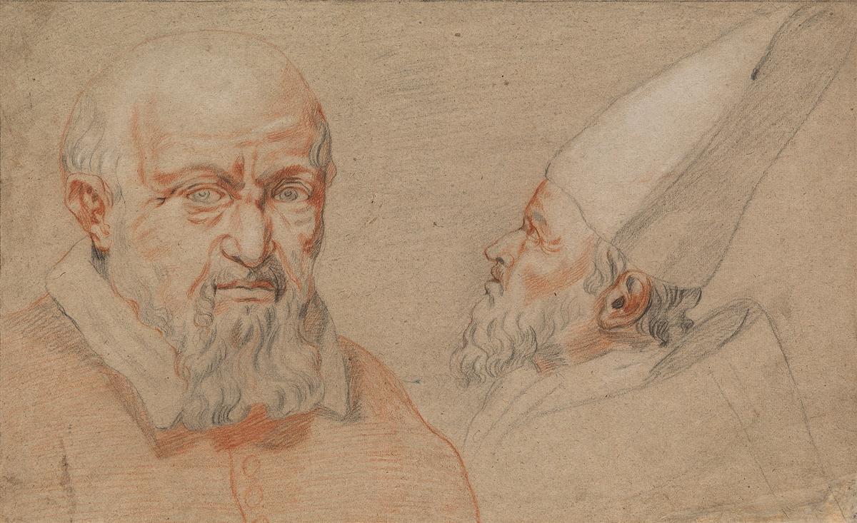 ITALIAN-SCHOOL-17TH-CENTURY-Portrait-Studies-of-a-Bishop