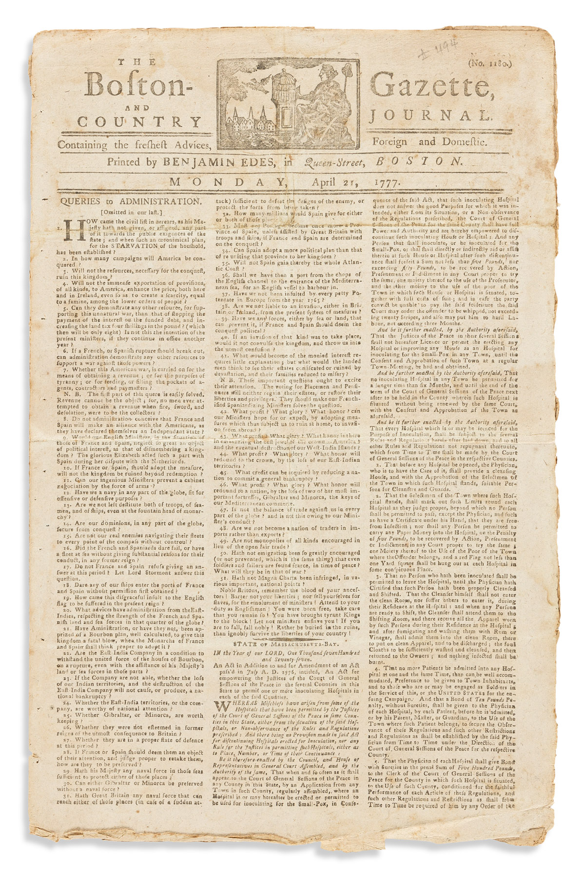 (AMERICAN REVOLUTION--1777.) Issue of the Boston-Gazette and Country Journal.