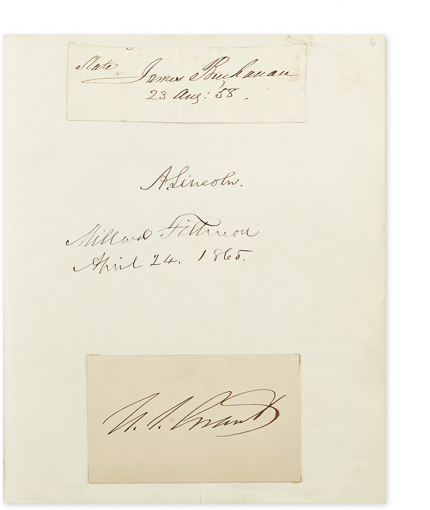 (ALBUM.) Autograph album containing over 200 signatures by political, military and other notables, including Abraham Lincoln, most of h