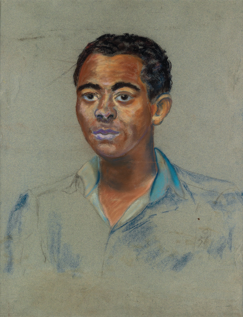 BEAUFORD-DELANEY-(1901---1979)-Untitled-(Portrait-of-A-Young