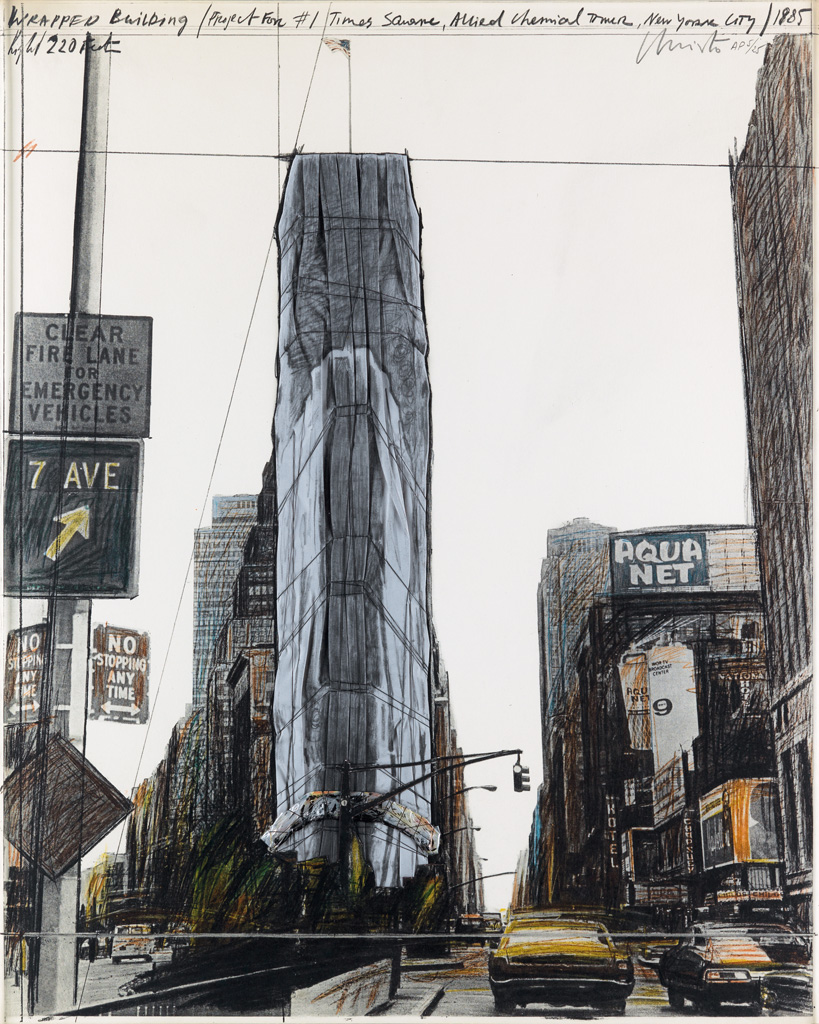 CHRISTO Wrapped Building Project for 1 Times Square, New York.