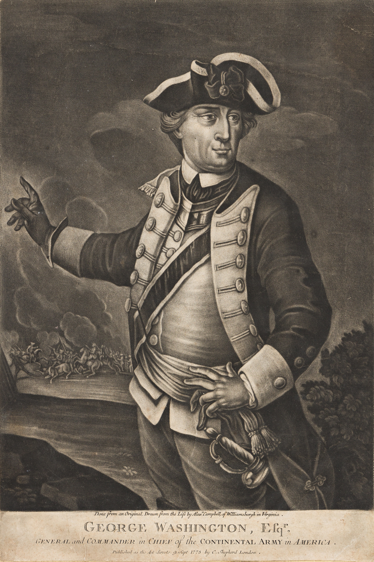 (WASHINGTON.) George Washington, Esqr., General and Commander in Chief of the Continental Army in America.