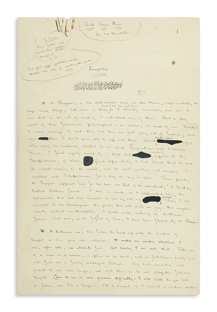 BEERBOHM, MAX. Autograph Manuscript Signed, thrice, complete draft of his essay Laughter,