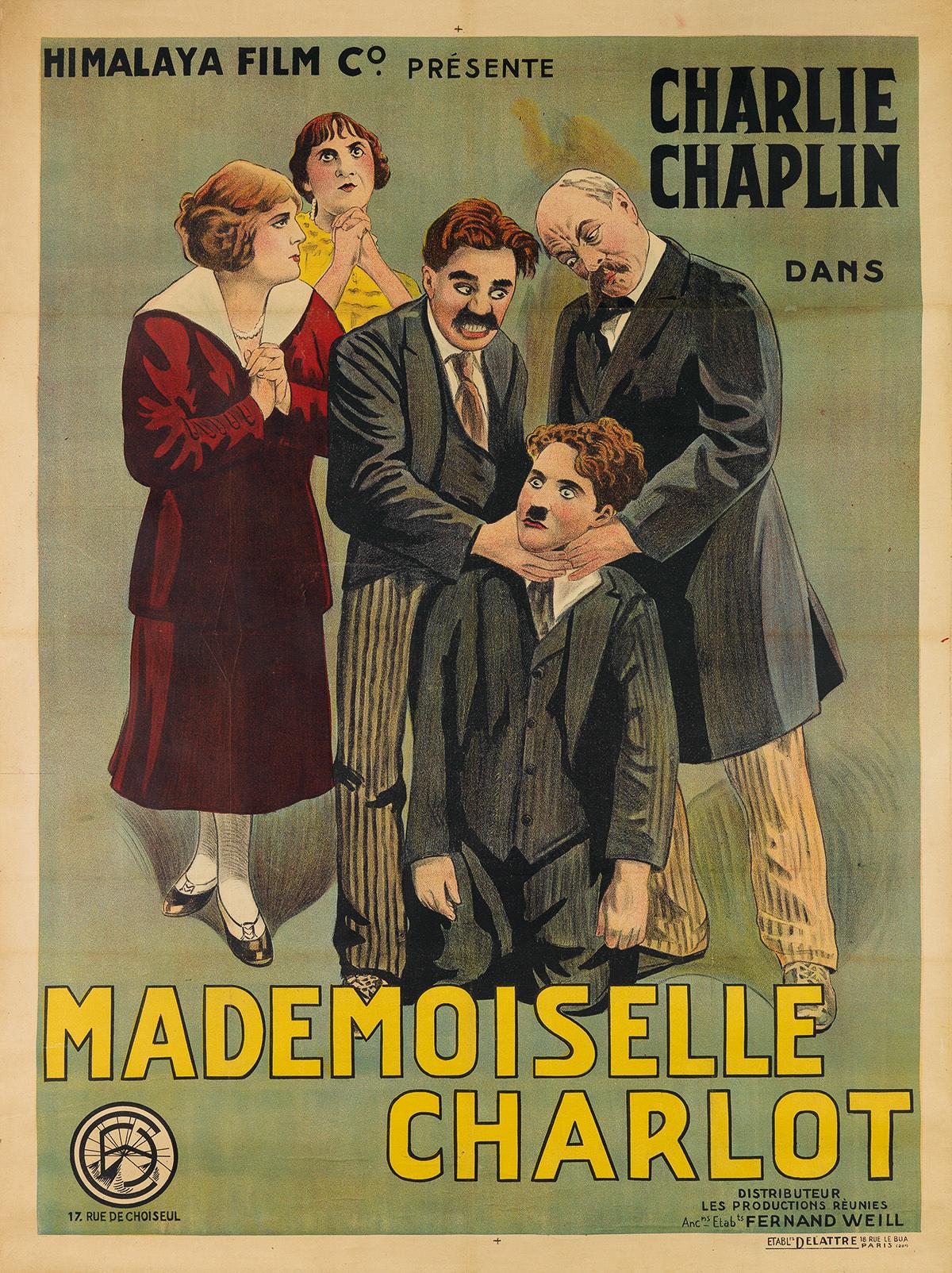 DESIGNER UNKNOWN. CHARLIE CHAPLIN DANS MADEMOISELLE CHARLOT. 1915. 63x47 inches, 160x119 cm. Dellatre, Paris.