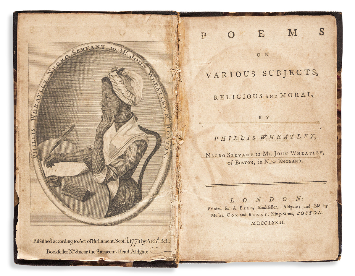 (LITERATURE.) Phillis Wheatley. Poems on Various Subjects, Religious and Moral.