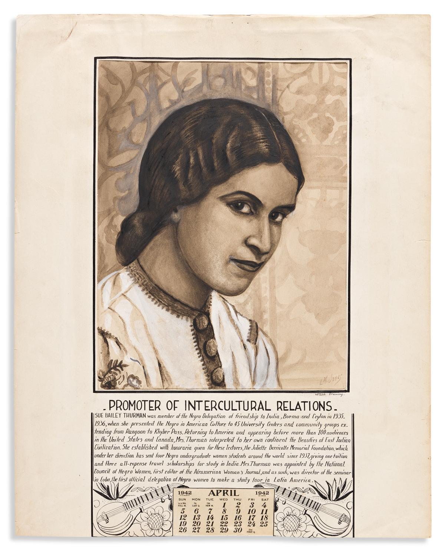 (ART.) Loïs Mailou Jones. Original portrait of activist Sue Bailey Thurman, done for the 1942 Twelve American Women calendar.
