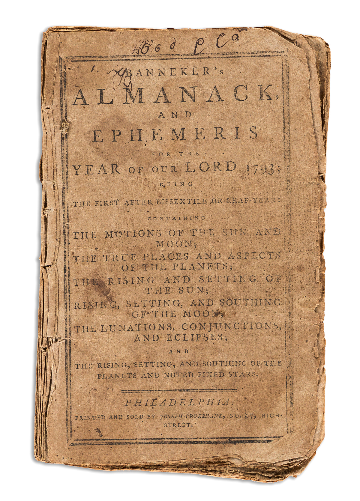 BENJAMIN BANNEKER. Bannekers Almanack, and Ephemeris for the Year of our Lord, 1793.
