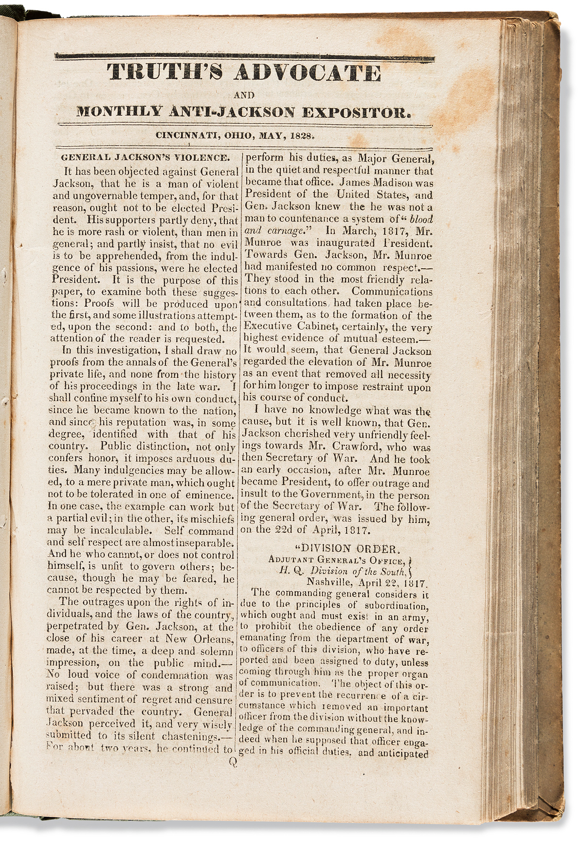 (PRESIDENTS--1828 CAMPAIGN.) Truths Advocate and Monthly Anti-Jackson Expositor.