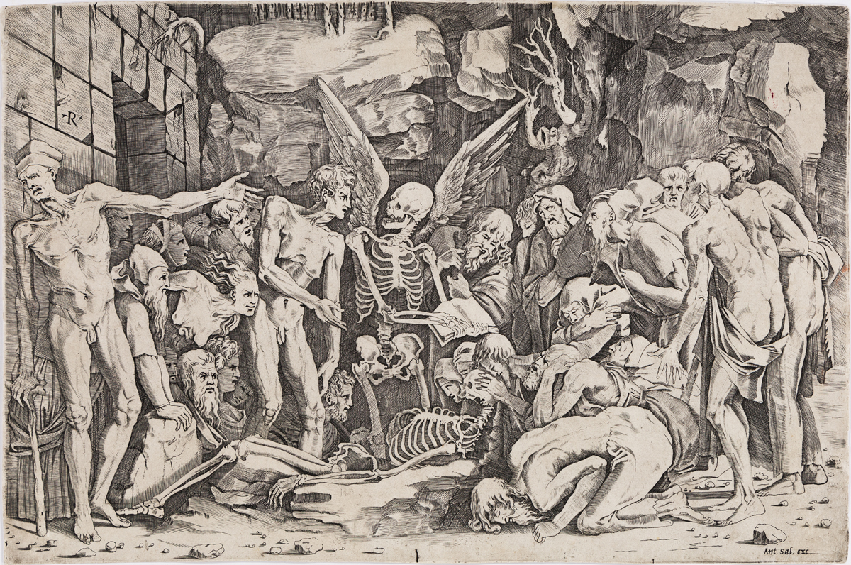MARCO DENTE (after Rosso Fiorentino) Allegory of Death and Fame: The Skeletons