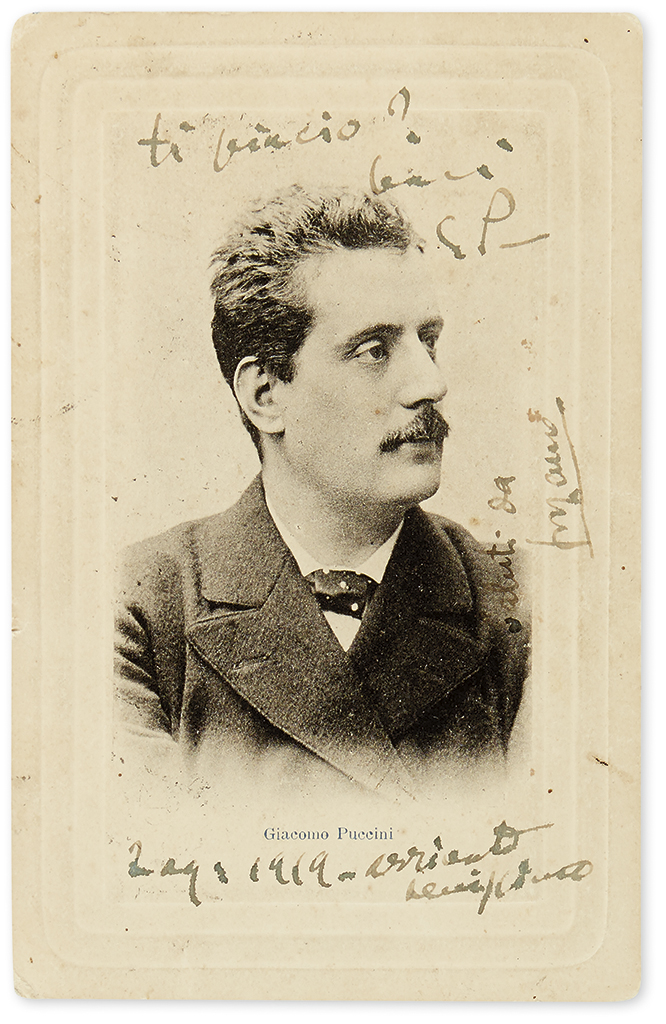 PUCCINI, GIACOMO. Photograph Postcard Inscribed and Signed, G.P., sending kisses to his wife Elvira and confirming safe arrival, in I