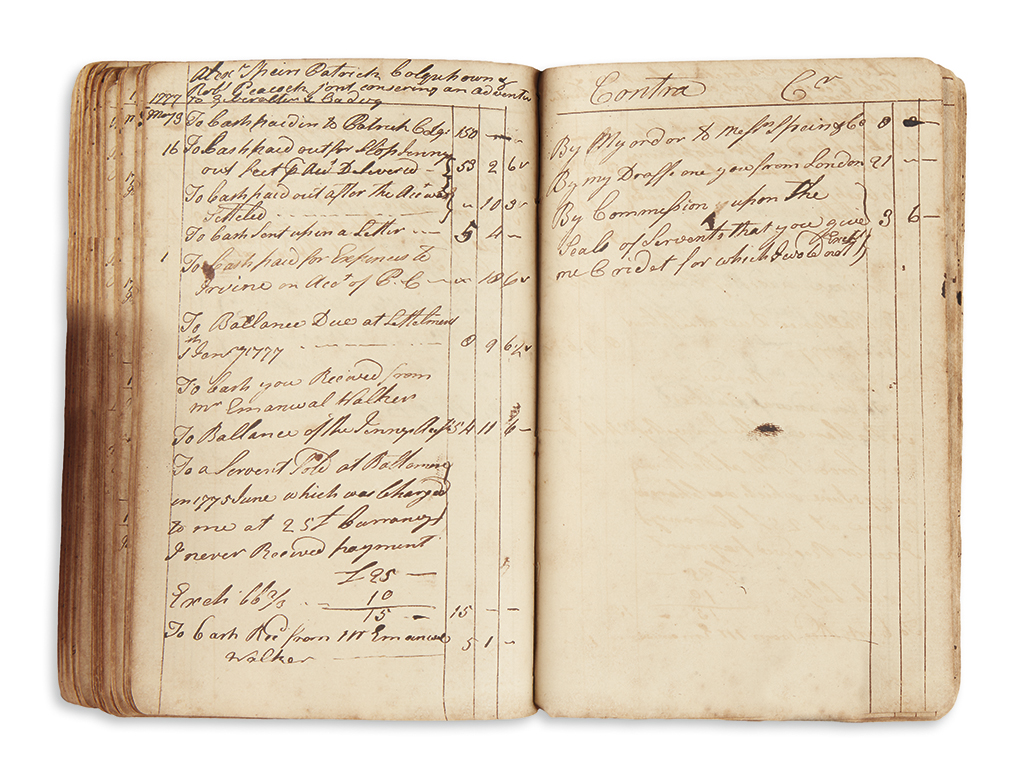 (MARYLAND.) Ledger of shipping merchant Robert Peacock of Oxford, Maryland.