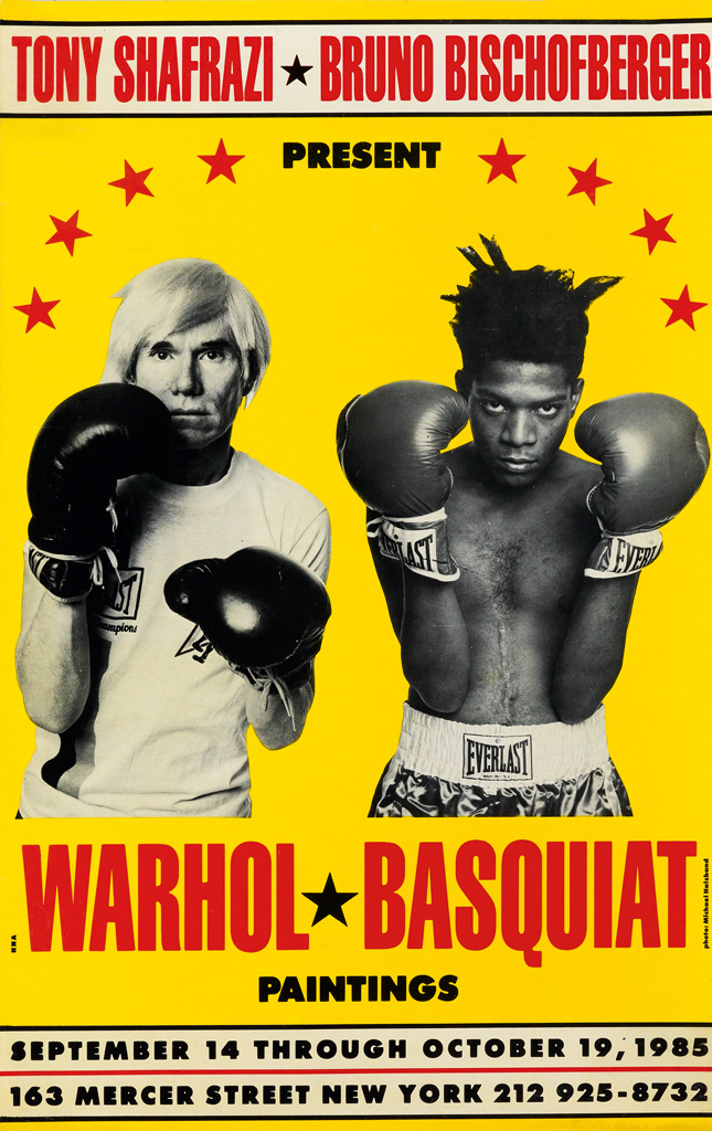 PHOTO BY MICHAEL HALSBAND (1956- ). BASQUIAT * WARHOL / PAINTINGS. 1985. 19x12 inches, 48x30 cm.