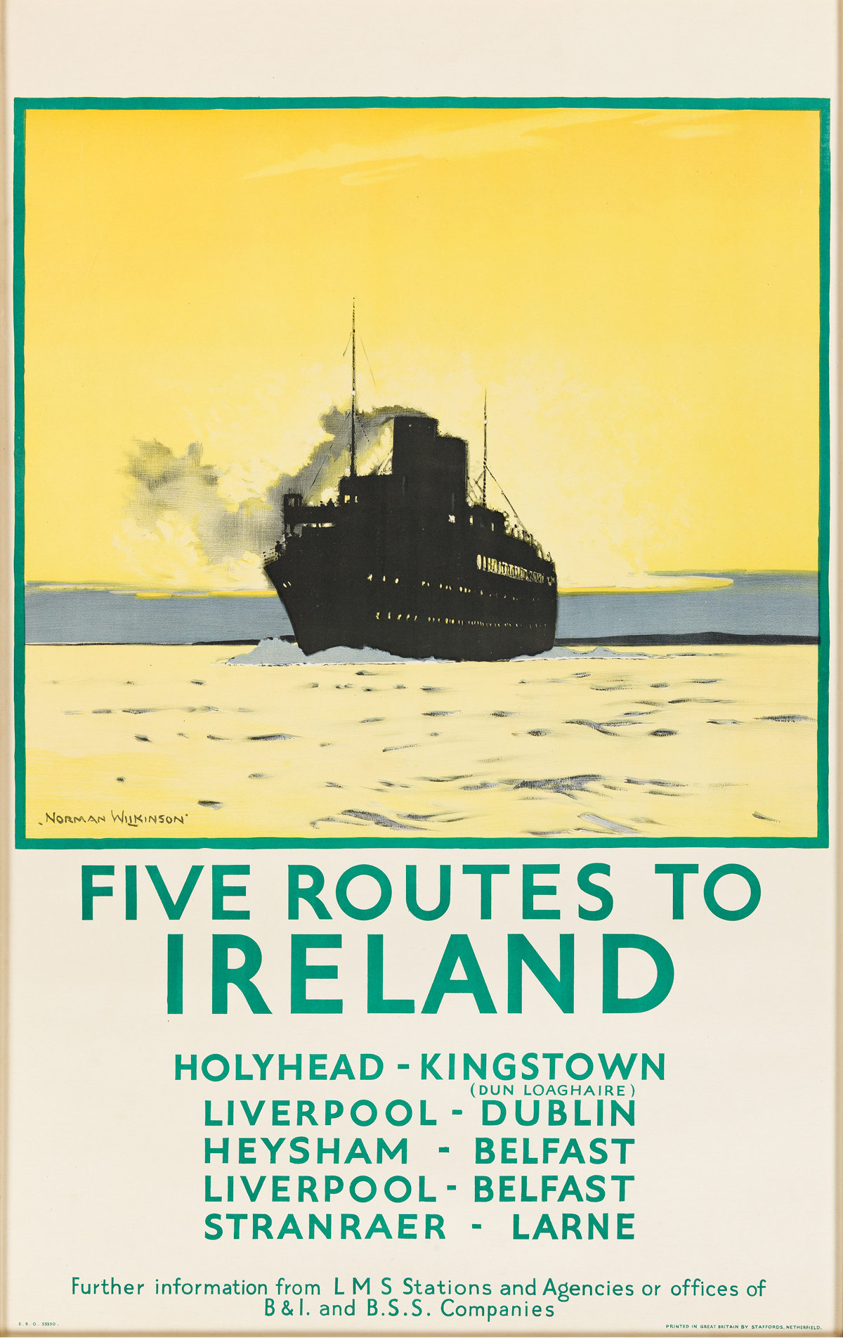 Norman Wilkinson (1882-1971).  FIVE ROUTES TO IRELAND. Circa 1925. 39x24 inches, 99x62 cm. Staffords, Netherfield.