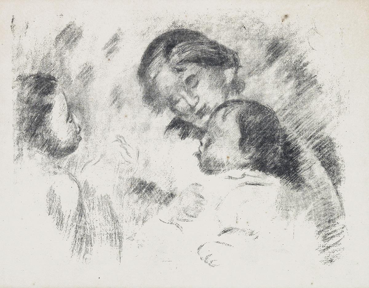 PIERRE-AUGUSTE RENOIR Une Mère et Deux Enfants.