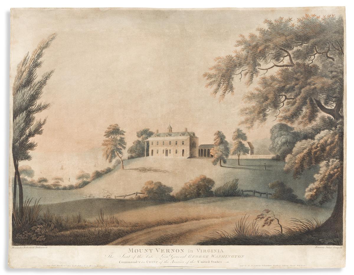 (WASHINGTON.) Francis Jukes, engraver; after Robertson. Mount Vernon in Virginia, the Seat of the Late Lieut. General George Washington