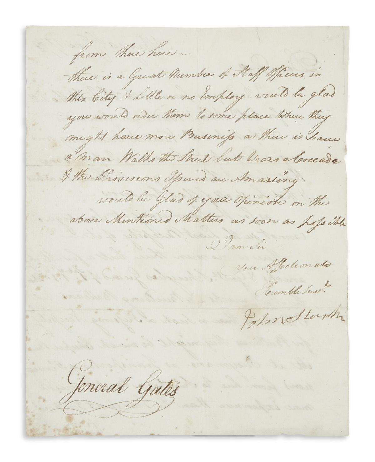 STARK, JOHN. Letter Signed, as Brigadier General, to Major General Horatio Gates,