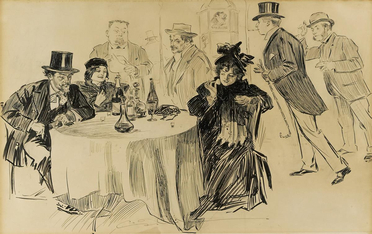 """CHARLES DANA GIBSON. """"And you believed the guides.""""  [PARIS / CAFÉ]"""
