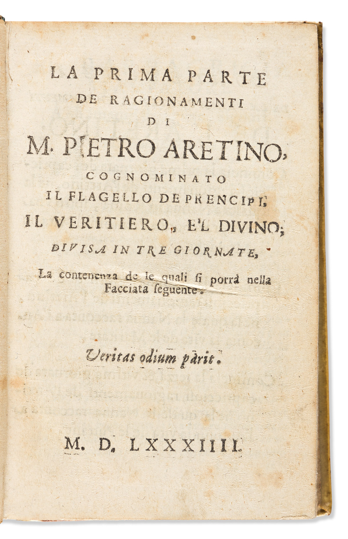 Aretino, Pietro (1492-1556) La Prima [-Seconda] Parte de Ragionamenti.