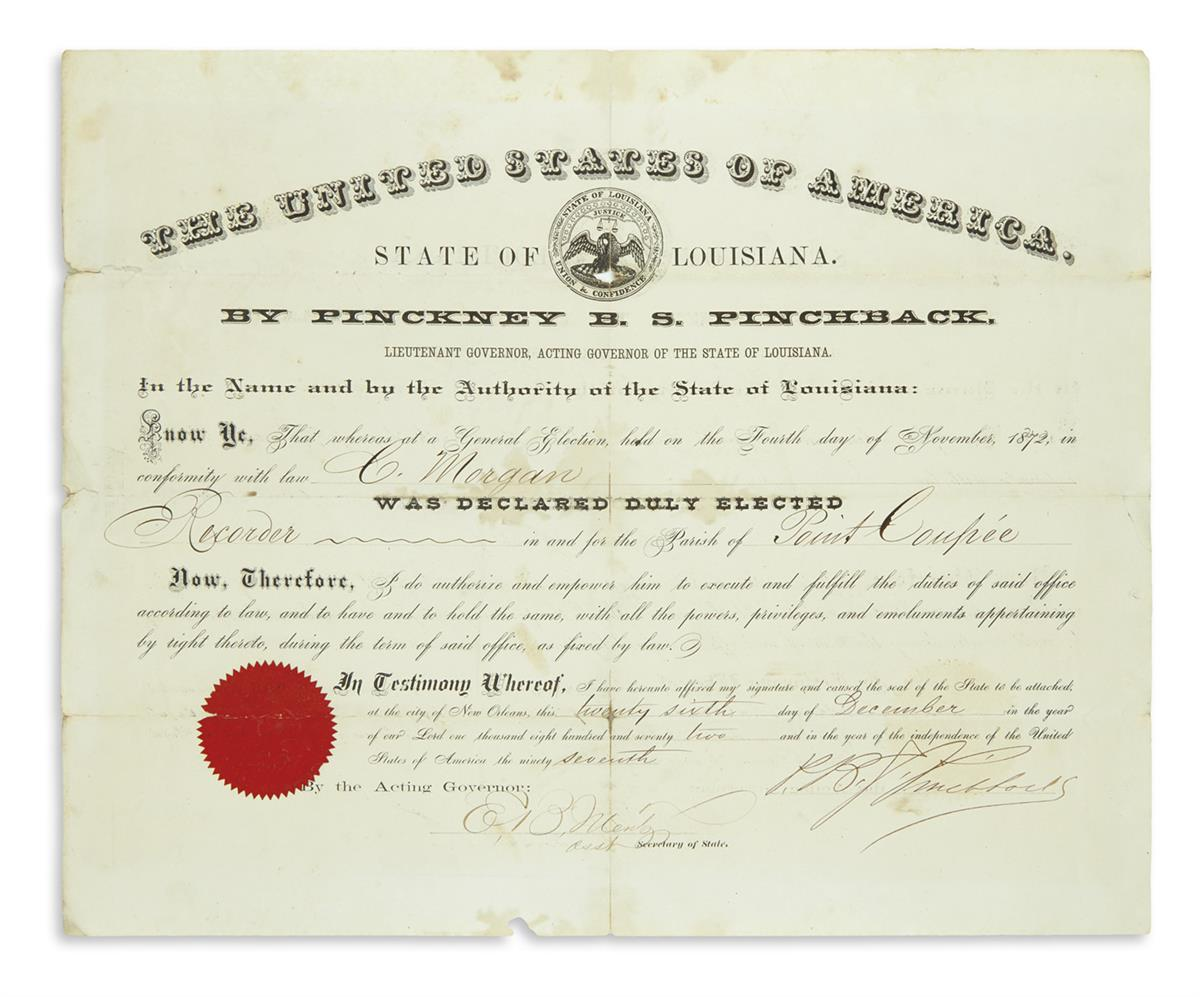 (RECONSTRUCTION.) Pinchback, Pinckney B.S. Commission signed as governor of Louisiana.