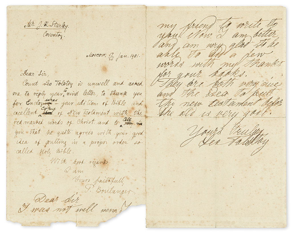 TOLSTOY, LEO. Autograph Letter Signed, in English, to inventor John Kemp Starley,