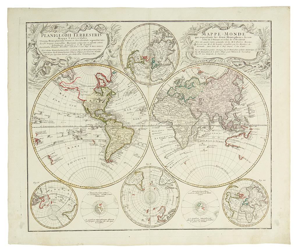 HOMANN HEIRS. Planiglobii Terrestris. . . Mappe-Monde.