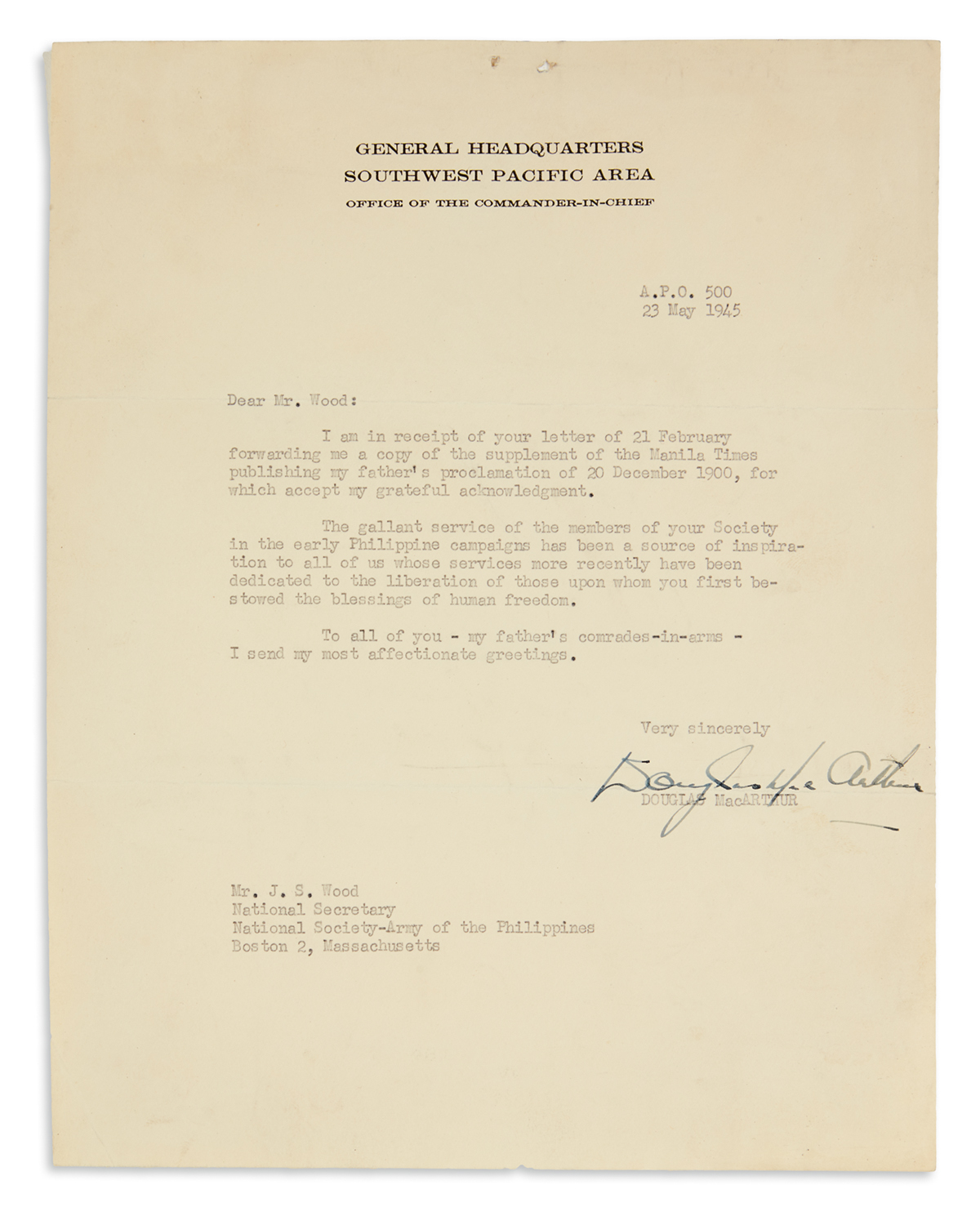 MACARTHUR-DOUGLAS-Typed-Letter-Signed-to-National-Secretary-of-the-National-Society-Army-of-the-Philippines-JS-Wood
