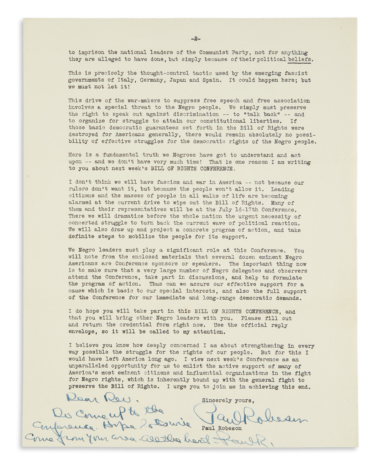 ROBESON, PAUL. Typed Letter Signed, with Autograph postscript additionally Signed, Paul R., to Dear Rev. Freeman,