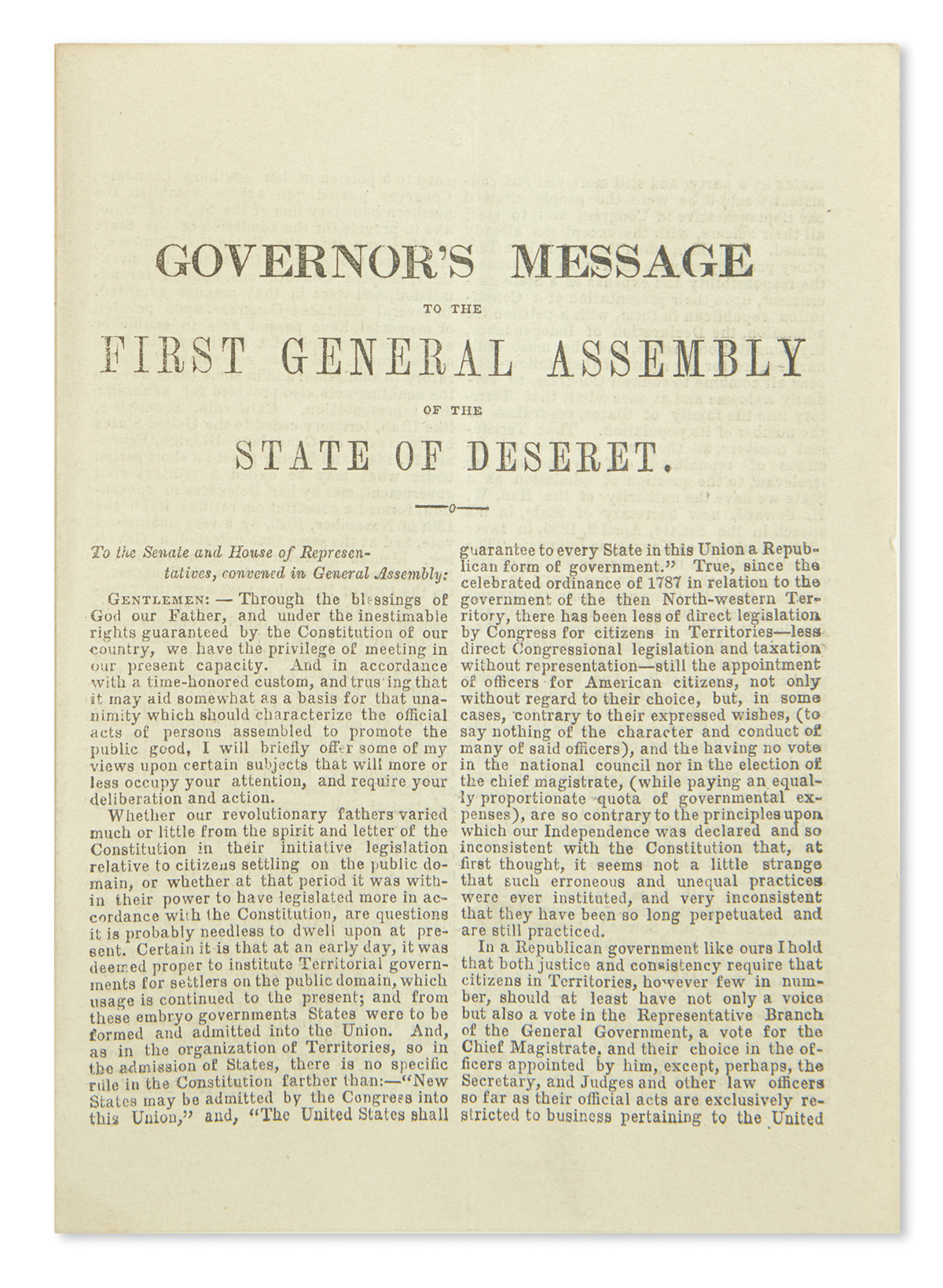 (UTAH)-[Young-Brigham]-Governors-Message-to-the-First-Genera
