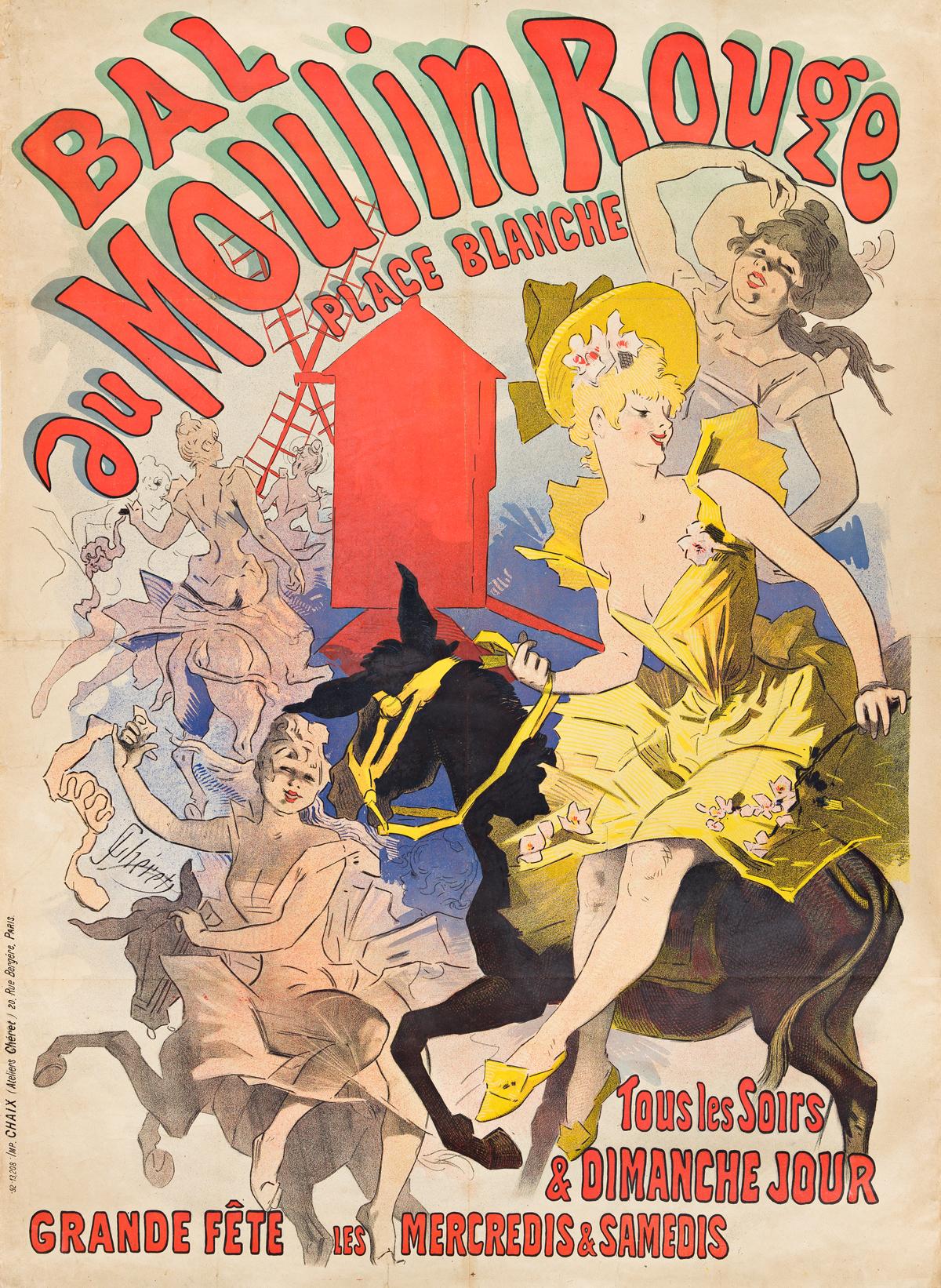 JULES CHÉRET (1836-1932).  BAL AU MOULIN ROUGE. 1889. 48x35 inches, 123x90 cm. Chaix, Paris.