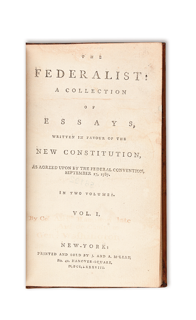 (CONSTITUTION.) The Federalist: A Collection of Essays Written in Favour of the New Constitution.