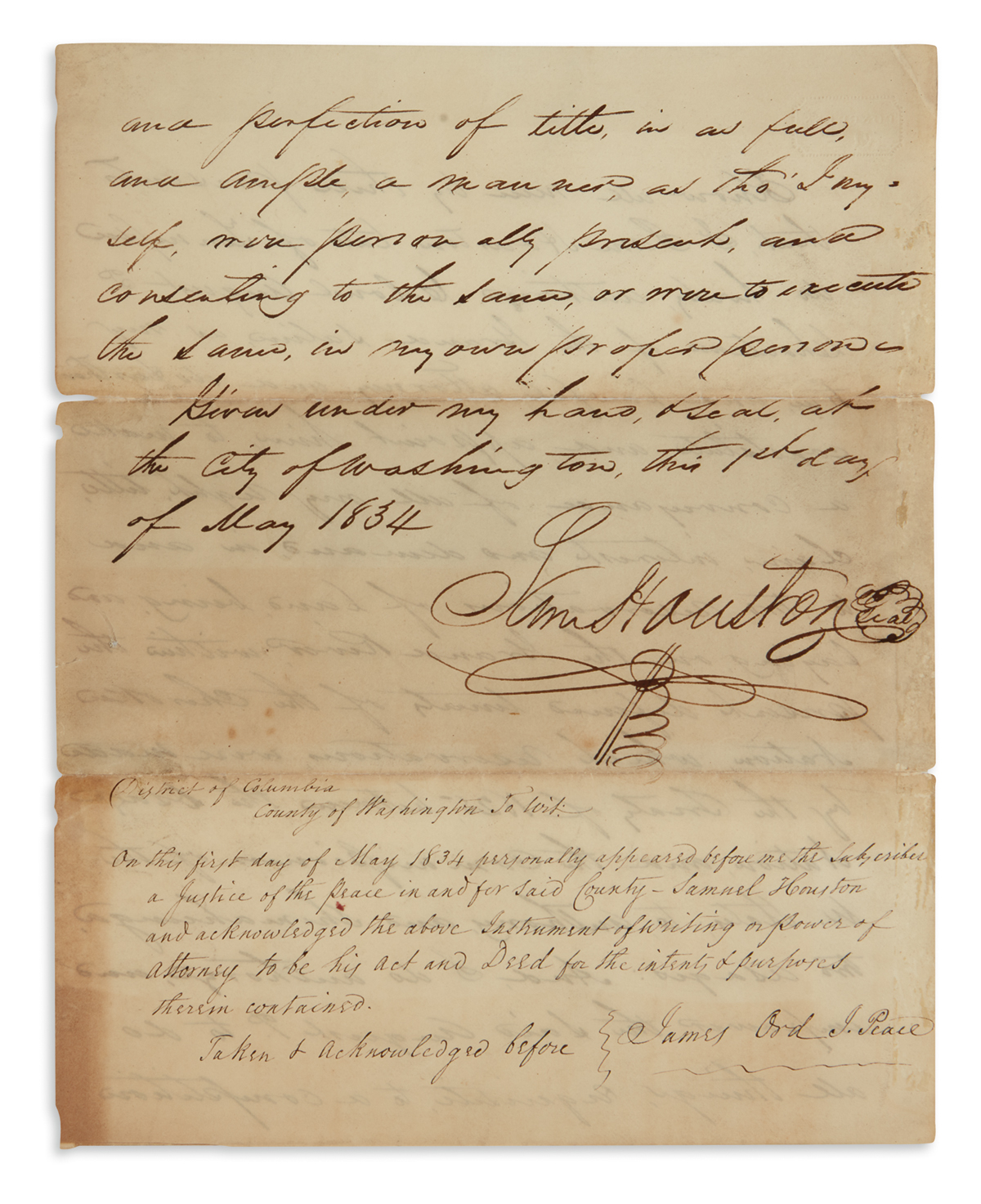SAMUEL HOUSTON. Autograph Document Signed, Sam Houston, thrice (one in third person within the text, another on addres...