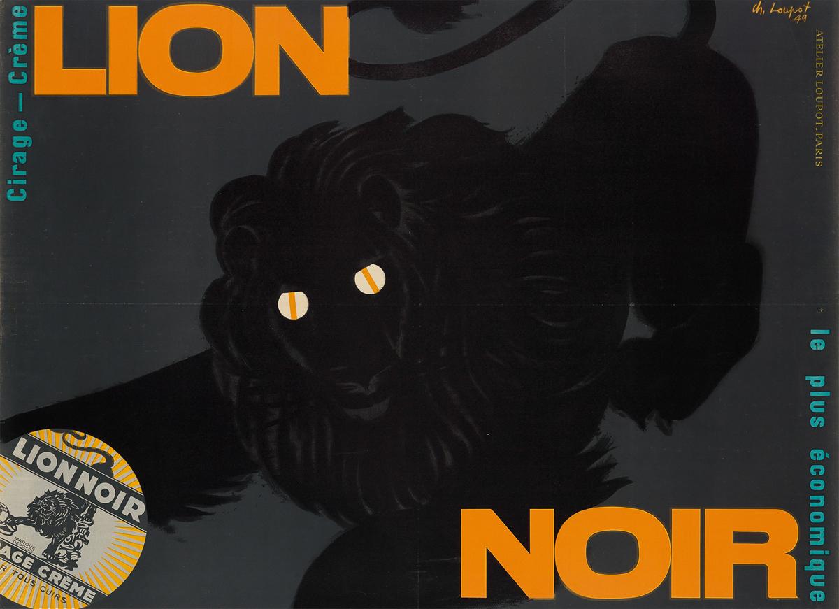 CHARLES-LOUPOT-(1892-1962)-LION-NOIR--CIRAGE---CRÈME-1949-46
