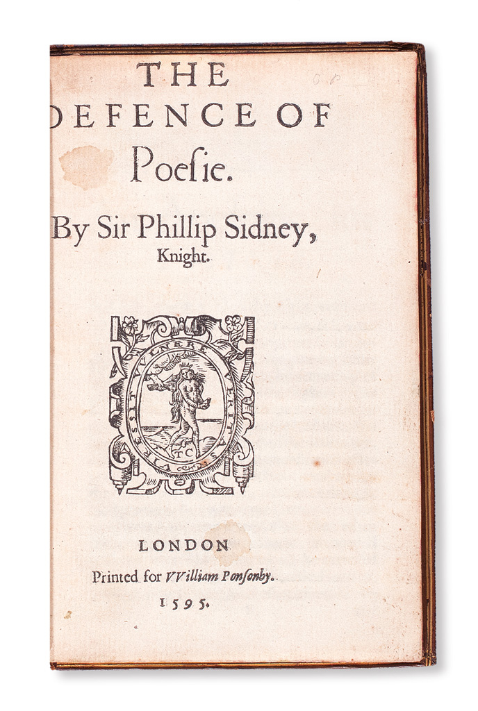 SIDNEY, PHILIP, Sir. The Defence of Poesie [i. e., An Apologie for Poetrie].  1595