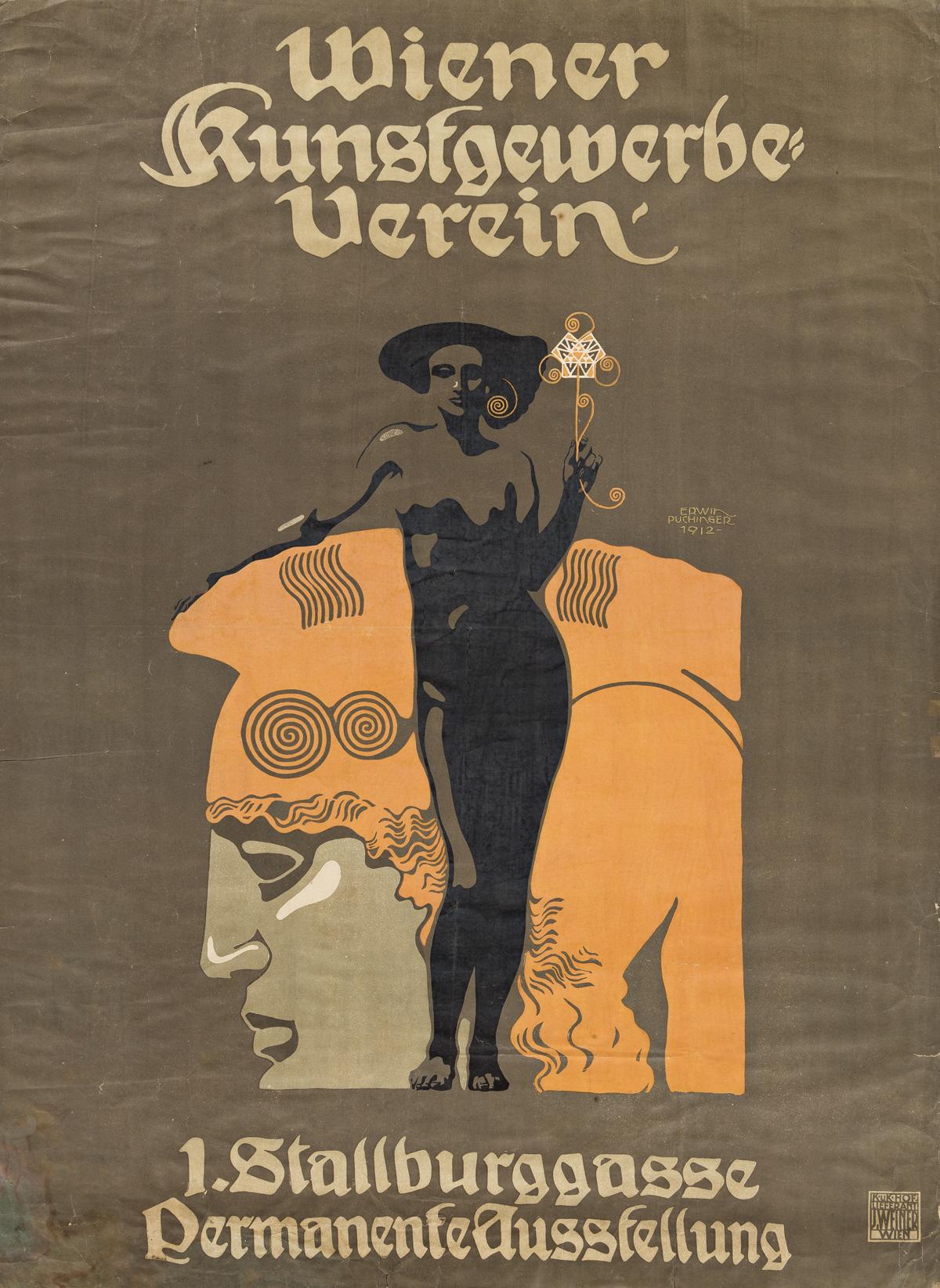 ERWIN PUCHINGER (1875-1944).  WIENER KUNSTGEWERBE - VEREIN. 1912. 47½x34¾ inches, 120½x88¼ cm. Jacob Weiner, Vienna.