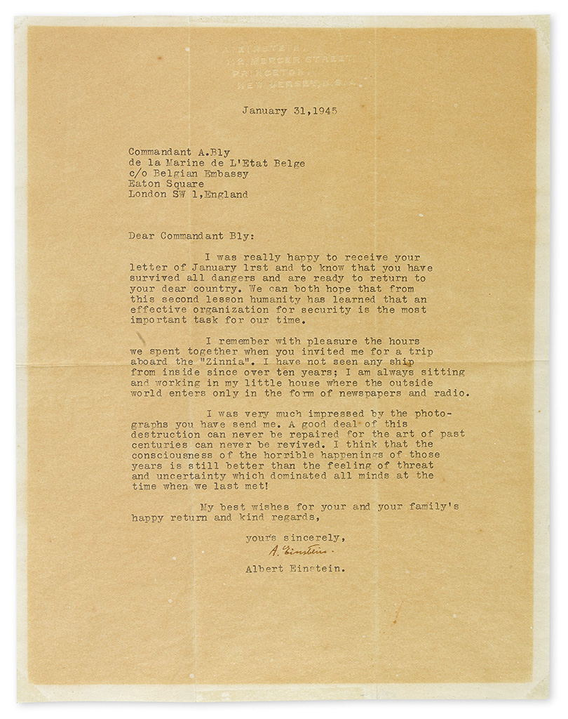 EINSTEIN, ALBERT. Typed Letter Signed, A. Einstein, to André Bly (Dear Commandant Bly), in English,