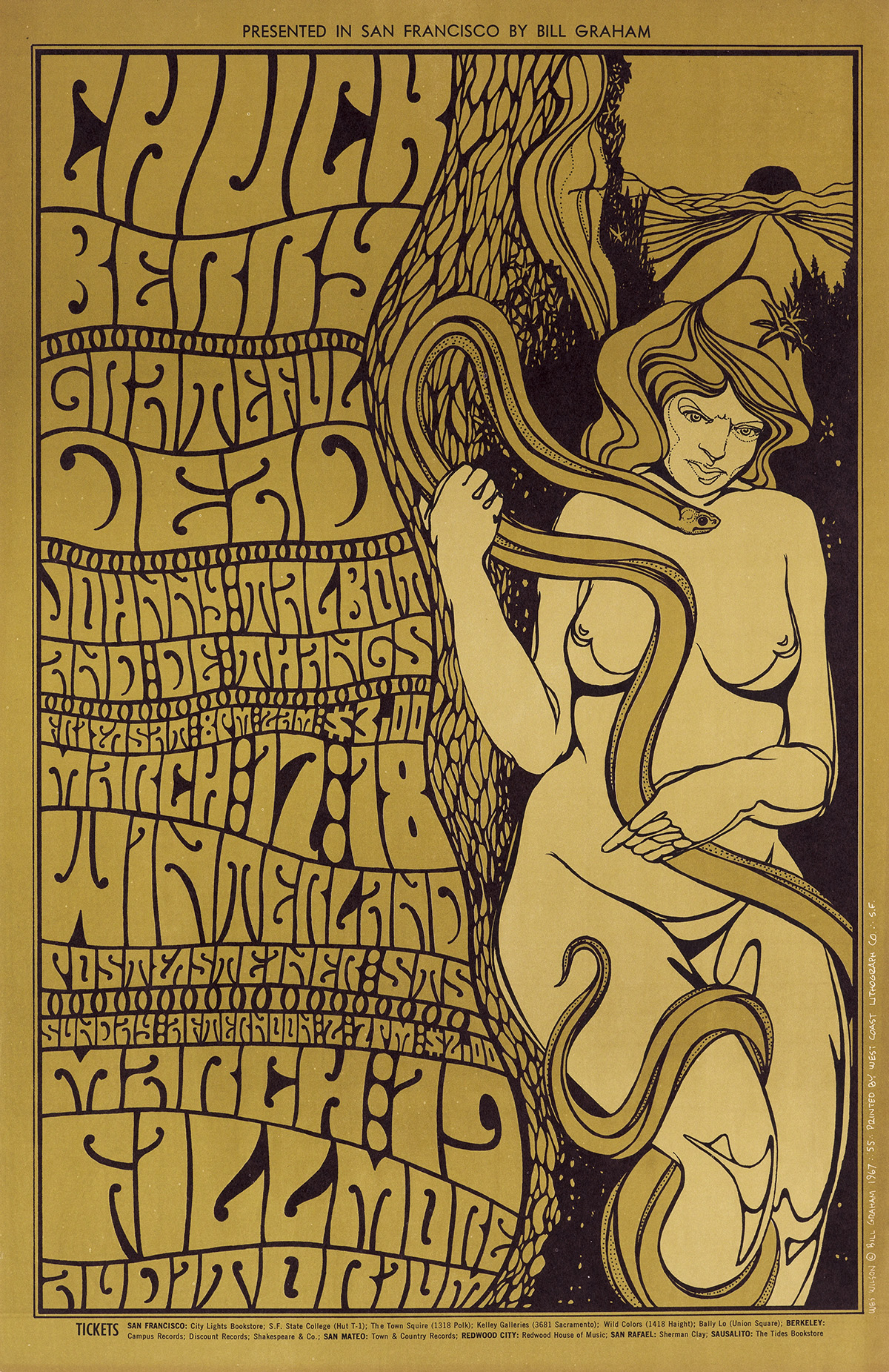 WES-WILSON-(1937--)-[PSYCHEDELIC-ROCK-CONCERTS]-Group-of-5-posters-1967-Sizes-vary