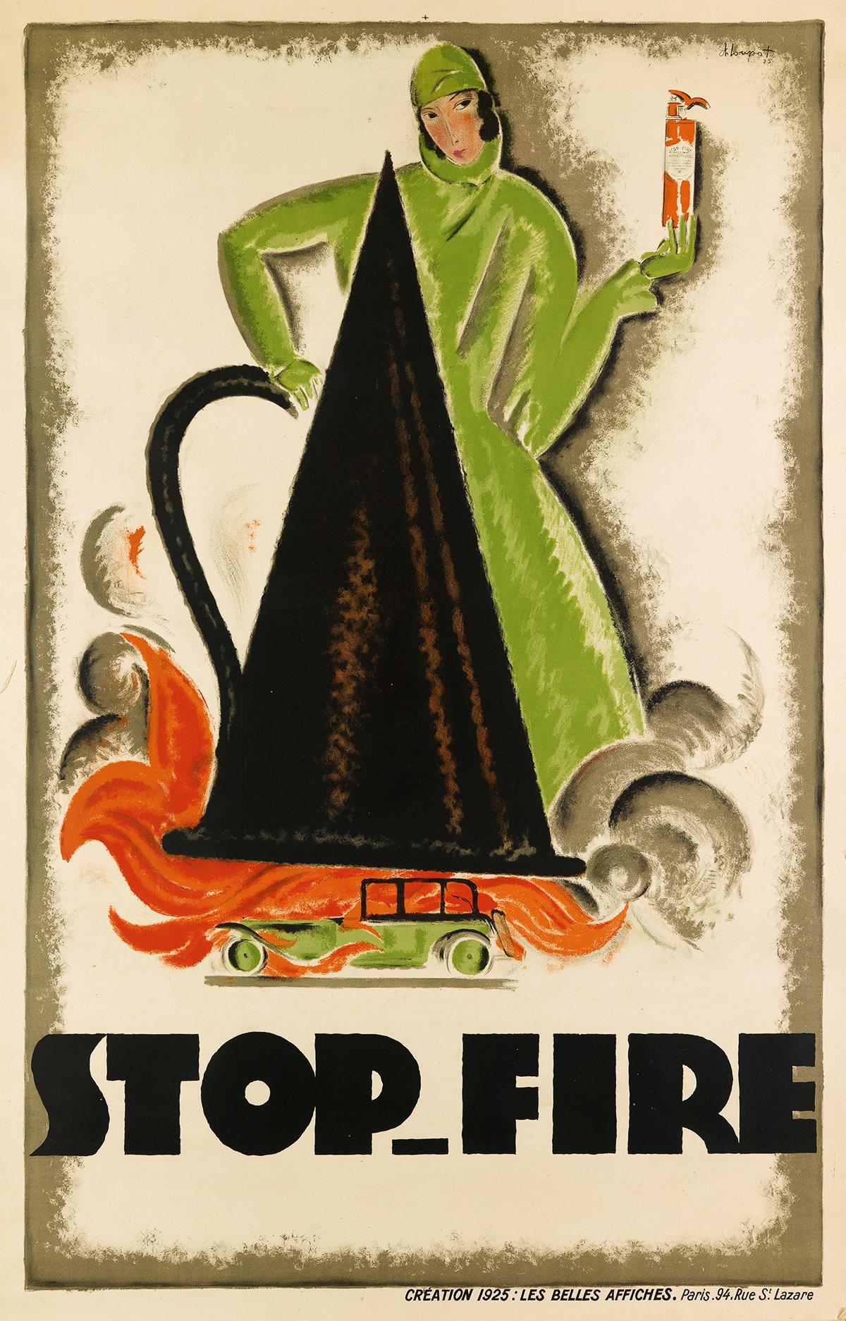 CHARLES-LOUPOT-(1892-1962)-STOP---FIRE-1925-76x49-inches-198x125-cm-Les-Belles-Affiche-Paris