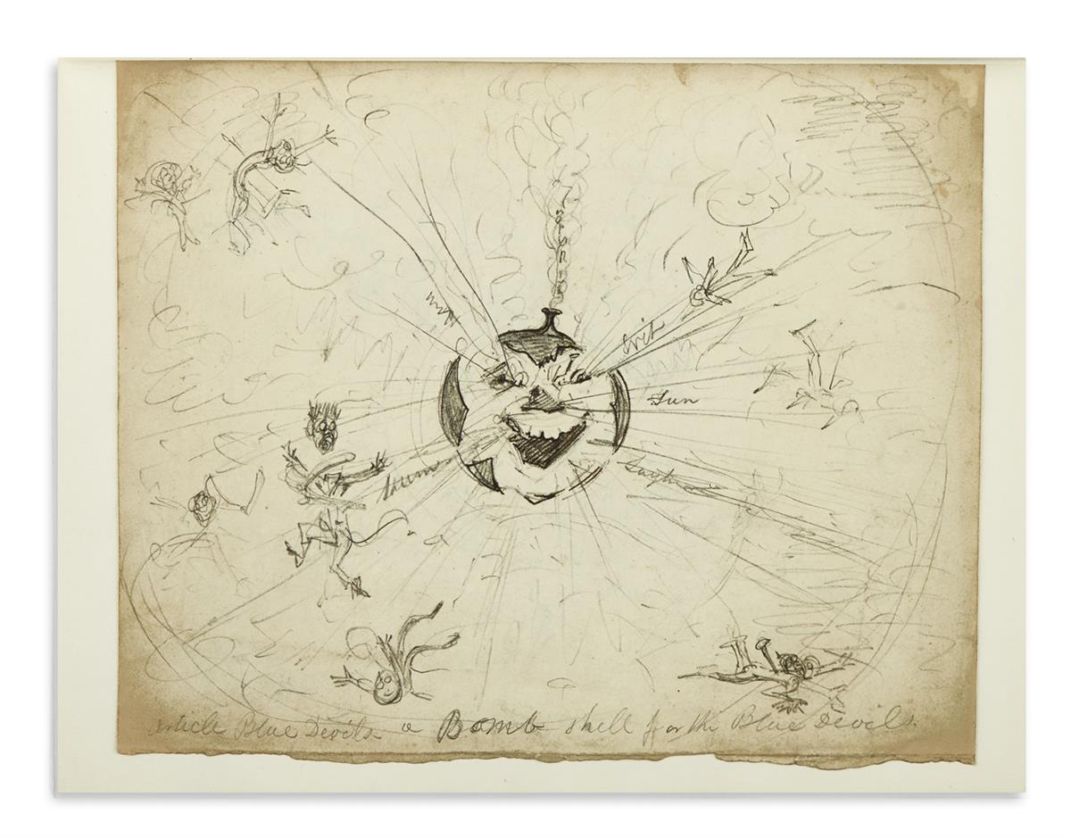 CRUIKSHANK, GEORGE. Over 200 drawings in ink or graphite, including 6 Signed, most small fragmentary sketches,