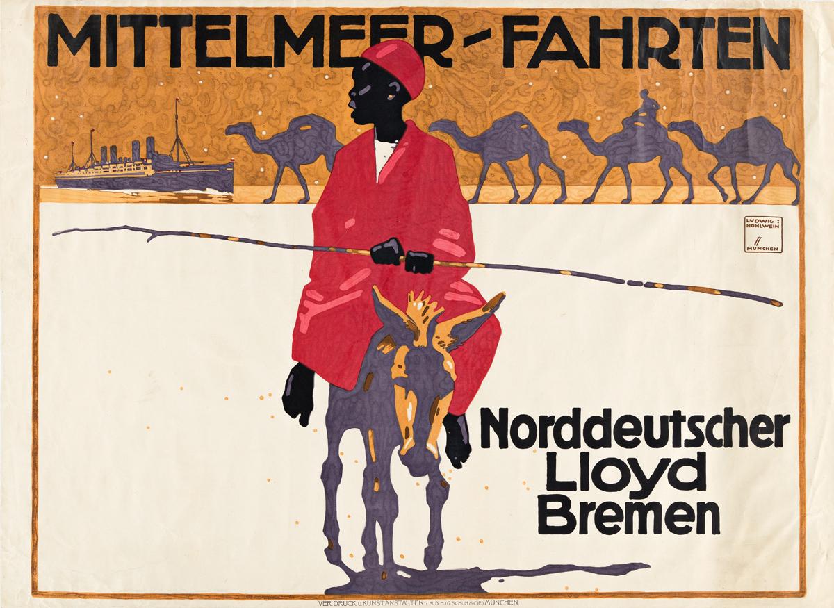 LUDWIG HOHLWEIN (1874-1949).  MITTELMEER - FAHRTEN / NORDDEUTSCHER LLOYD BREMEN. 1913. 27x37¼ inches, 68½x94¼ cm. Ver Druck u. Kunstans