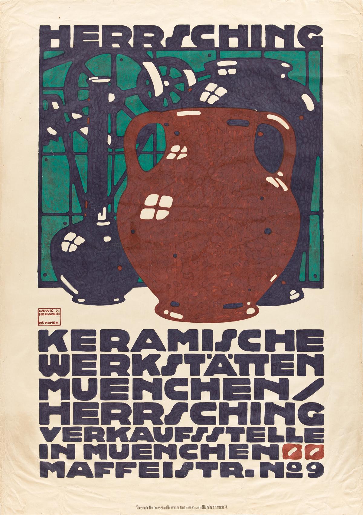 LUDWIG HOHLWEIN (1874-1949).  HERRSCHING / KERAMISCHE WERKSTÄTTEN. 1910. 44x30¾ inches, 111¾x78 cm. G. Schuh, Munich.