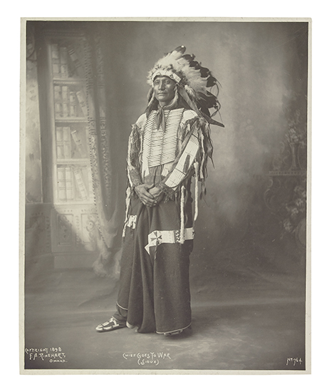 (AMERICAN INDIANS--PHOTOGRAPHS.) Rinehart, Frank A. Chief Goes to War (Sioux).