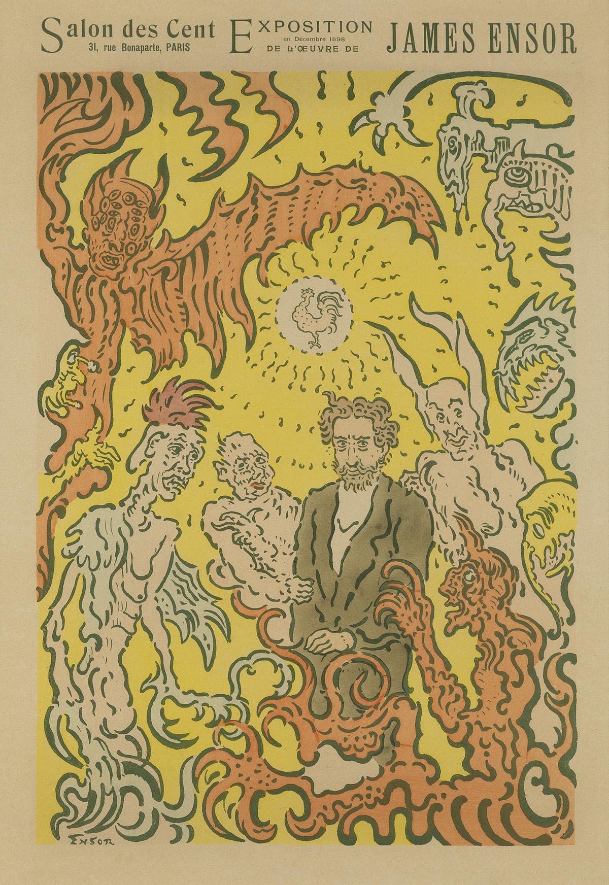 JAMES-ENSOR-(1860-1949)-SALON-DES-CENT-1898-24x16-inches-61x