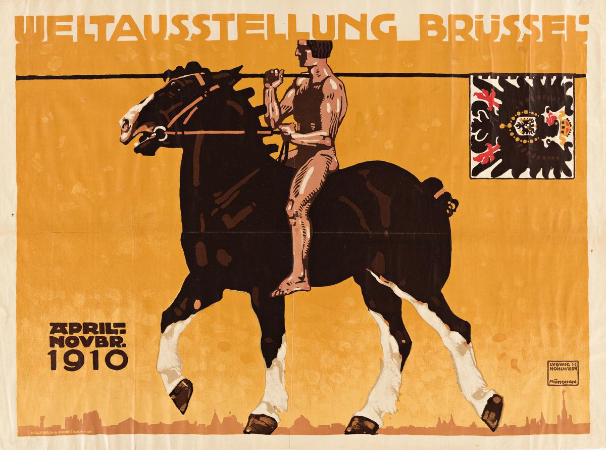 LUDWIG HOHLWEIN (1874-1949).  WELTAUSSTELLUNG BRÜSSEL. 1910. 24x32½ inches, 61x82½ cm. Hollerbaum & Schmidt, Berlin.