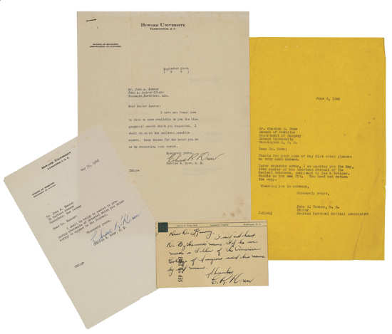 (MEDICINE.) DREW, CHARLES RICHARD. Two Typed Letters Signed * Autograph Post Card Signed.