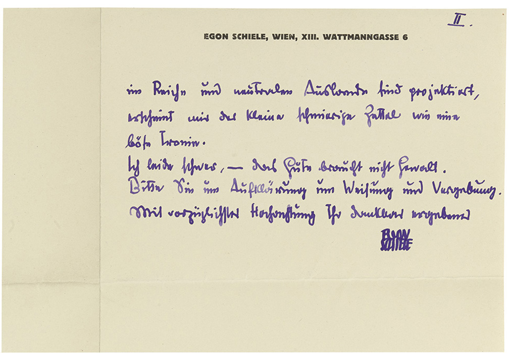 SCHIELE, EGON. Autograph Letter Signed, to Chief Engineer Dr. John, in German,