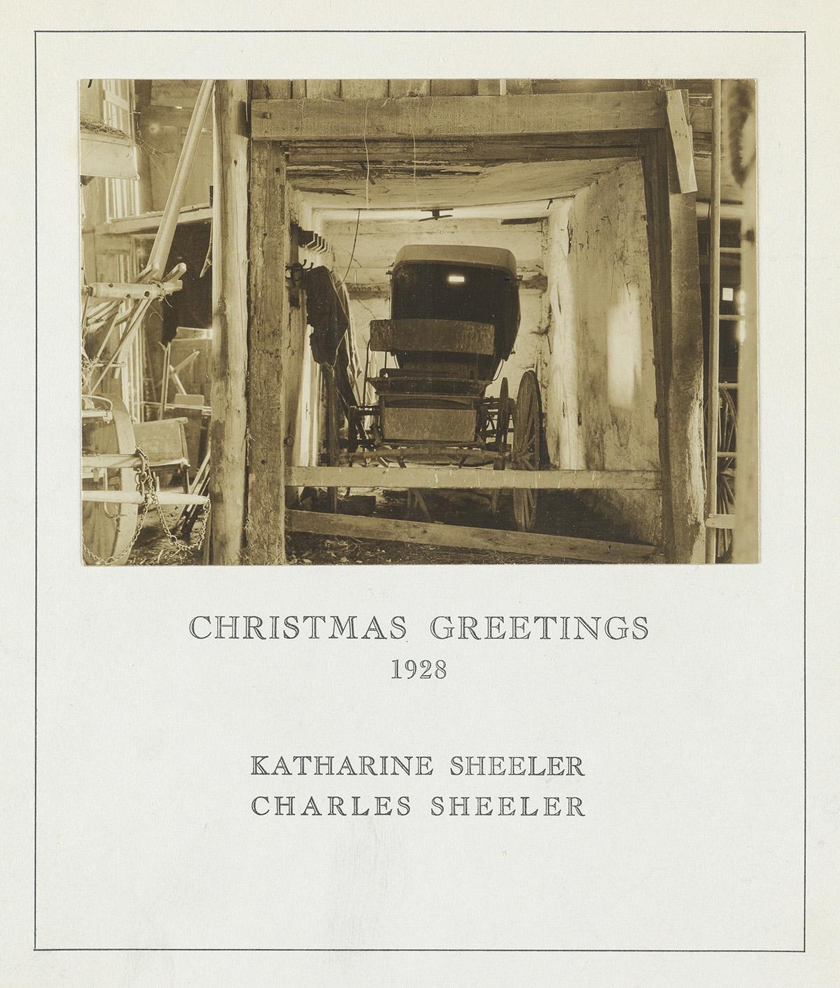 CHARLES SHEELER (1883-1965) Buggy in a Barn, Doylestown, Pennsylvania (Christmas card).